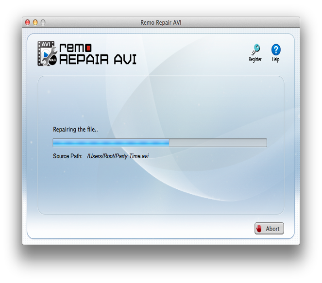 Repair AVI files Mac - Repairing